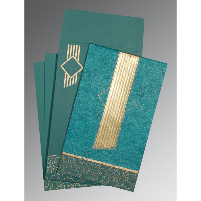 Blue Box Themed - Embossed Wedding Invitation : CW-1438 - IndianWeddingCards