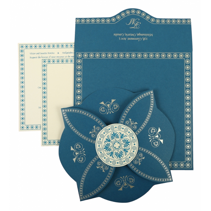 Blue Butterfly Themed - Screen Printed Wedding Invitation : CIN-820D - IndianWeddingCards