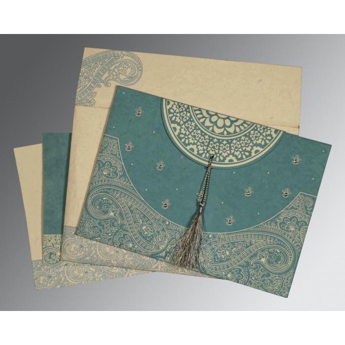 Blue Handmade Cotton Embossed Wedding Card : CIN-8234E - IndianWeddingCards