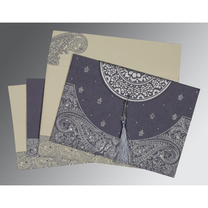 Blue Handmade Cotton Embossed Wedding Card : CS-8234J - IndianWeddingCards