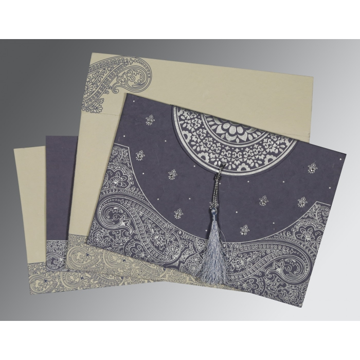 Blue Handmade Cotton Embossed Wedding Card : CW-8234J - IndianWeddingCards