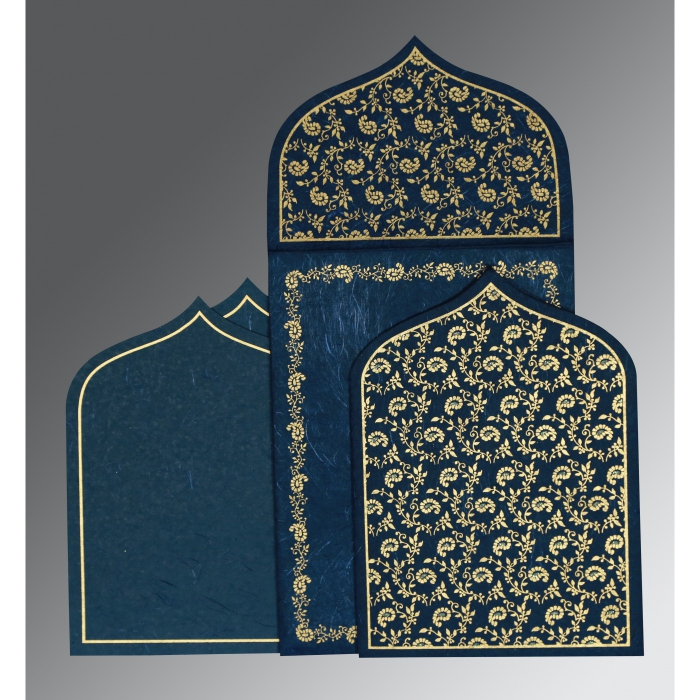 Blue Handmade Silk Paisley Themed - Glitter Wedding Invitation : CW-8208B - IndianWeddingCards