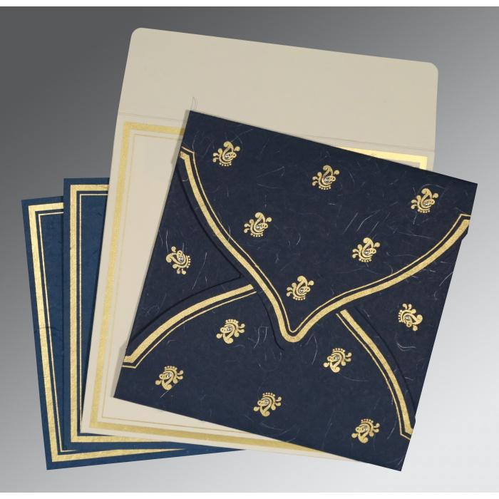 Blue Handmade Silk Unique Themed - Screen Printed Wedding Card : CW-8203B - IndianWeddingCards