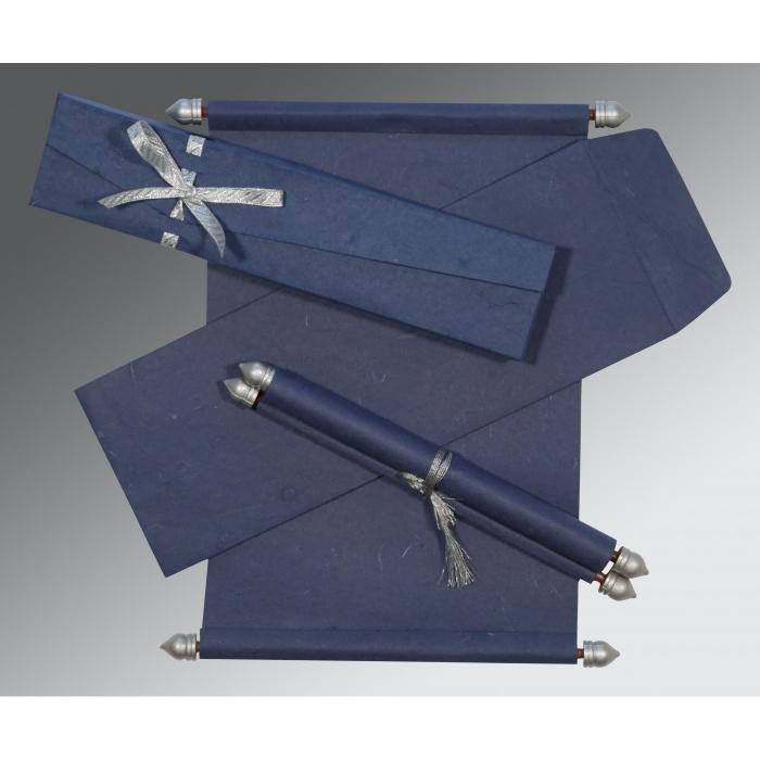 Blue Handmade Silk Wedding Card : CSC-5001A - IndianWeddingCards