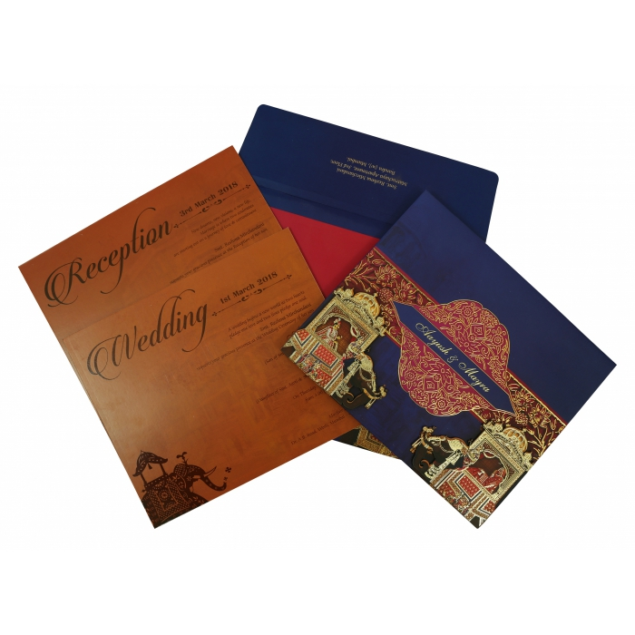 Blue Matte Box Themed - Foil Stamped Wedding Invitation : CD-1830 - IndianWeddingCards