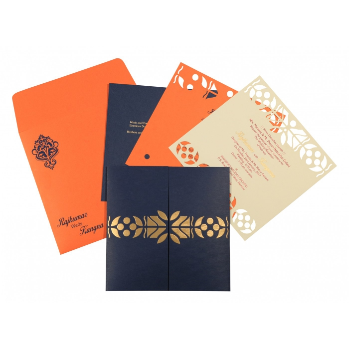 Blue Matte Embossed Wedding Invitation : CD-8260F - IndianWeddingCards