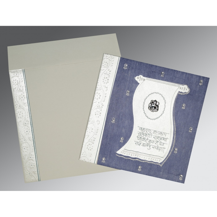 Blue Matte Embossed Wedding Card : CW-2109 - IndianWeddingCards
