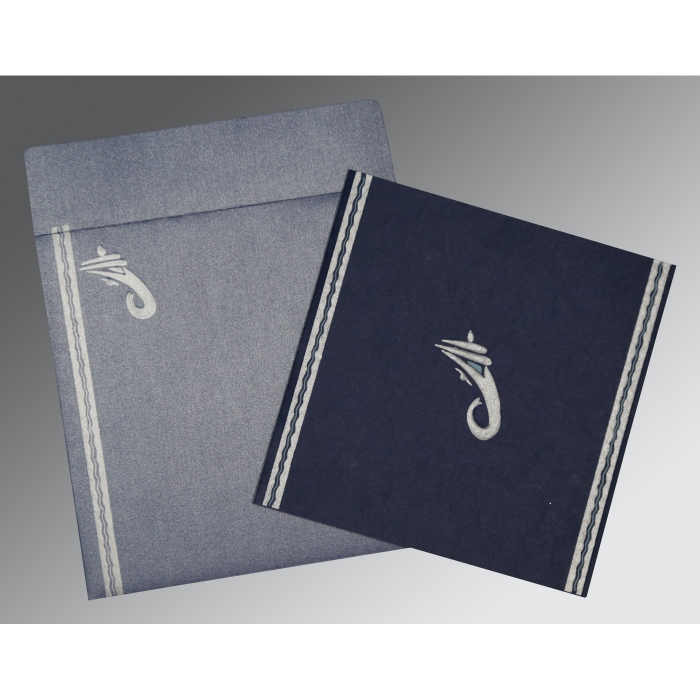 Blue Matte Embossed Wedding Card : CW-2179 - IndianWeddingCards