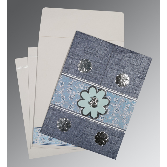 Blue Matte Floral Themed - Embossed Wedding Card : CC-1285 - IndianWeddingCards