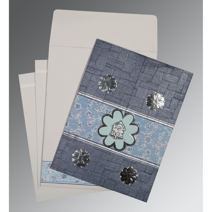 Blue Matte Floral Themed - Embossed Wedding Card : CS-1285 - IndianWeddingCards