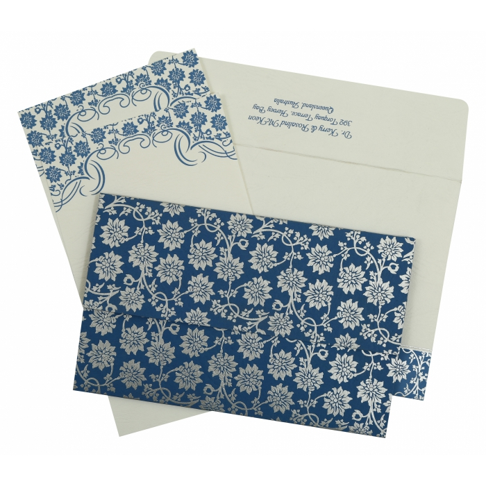 Blue Matte Floral Themed - Screen Printed Wedding Invitation : CI-810A - IndianWeddingCards