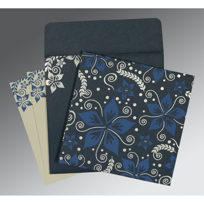 Blue Matte Floral Themed - Screen Printed Wedding Invitation : CD-8240C - IndianWeddingCards