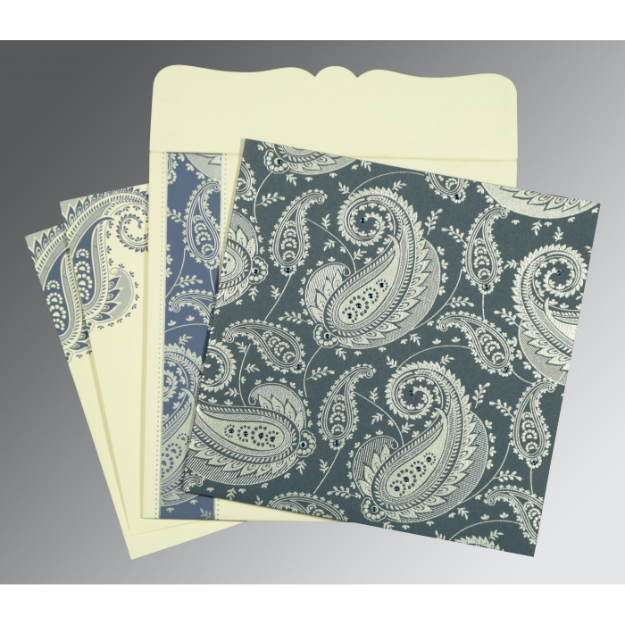Blue Matte Paisley Themed - Screen Printed Wedding Card : CD-8250E - IndianWeddingCards