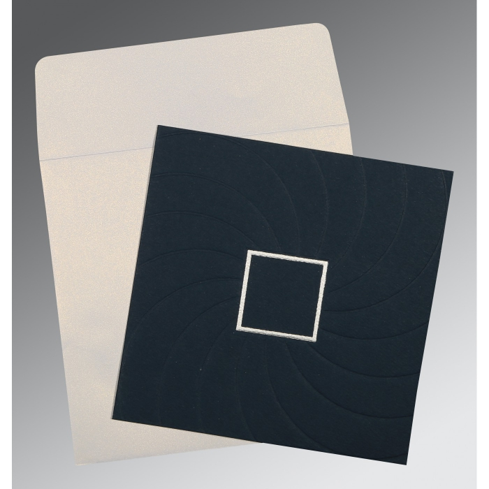 Blue Matte Pocket Themed - Embossed Wedding Card : CD-1436 - IndianWeddingCards
