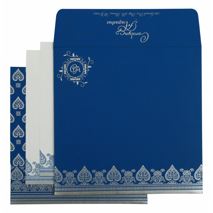 Blue Matte Screen Printed Wedding Invitation : CD-809D - IndianWeddingCards