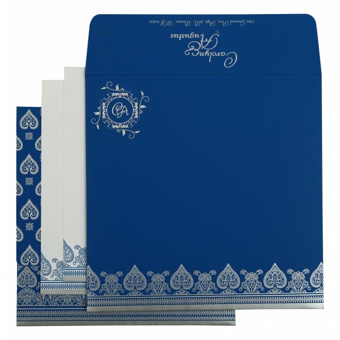 Blue Matte Screen Printed Wedding Invitation : CS-809D - IndianWeddingCards