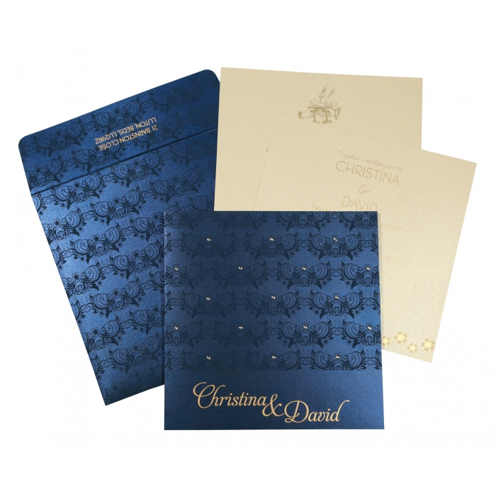 Blue Shimmery Butterfly Themed - Screen Printed Wedding Card : CS-8258A - IndianWeddingCards