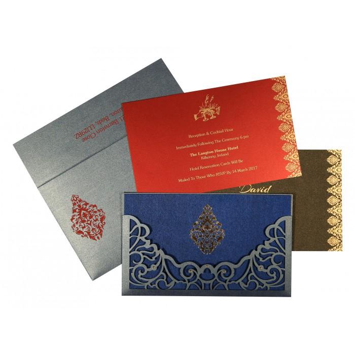 Blue Shimmery Damask Themed - Laser Cut Wedding Card : CD-8262E - IndianWeddingCards