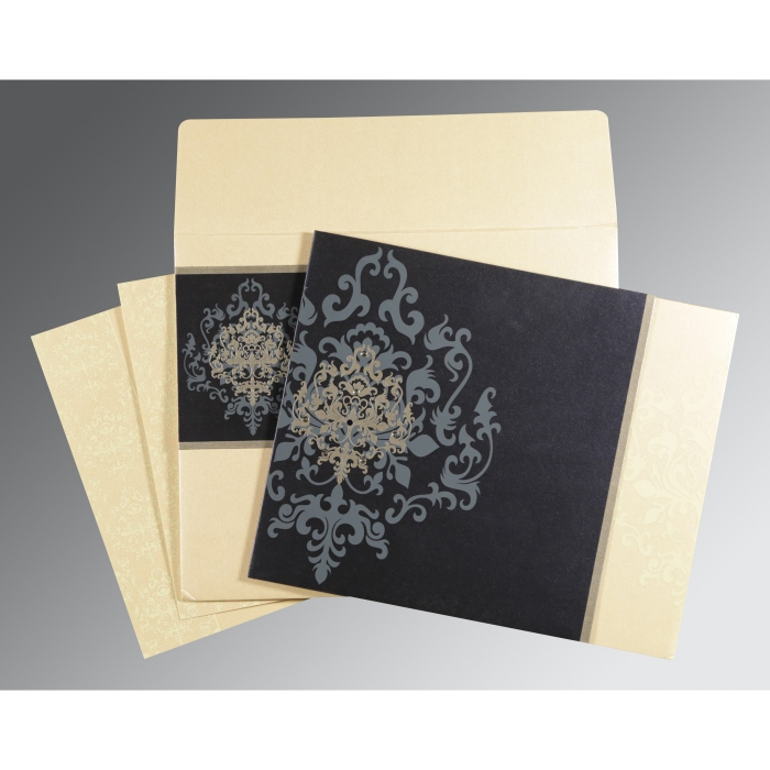 Blue Shimmery Damask Themed - Screen Printed Wedding Card : CD-8253D - IndianWeddingCards