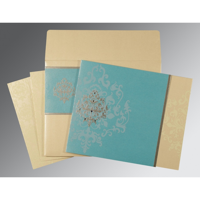 Blue Shimmery Damask Themed - Screen Printed Wedding Card : CD-8253E - IndianWeddingCards