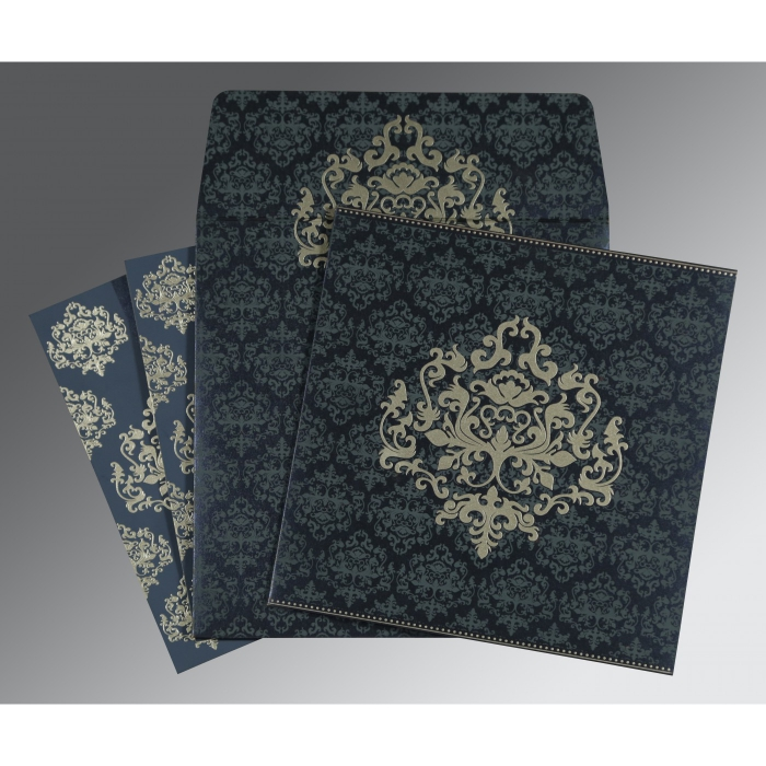 Blue Shimmery Damask Themed - Screen Printed Wedding Card : CI-8254C - IndianWeddingCards