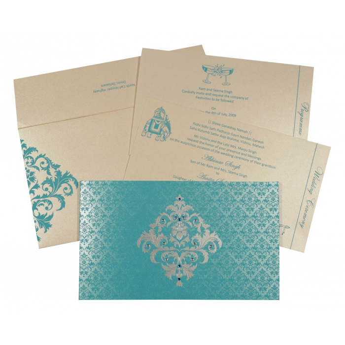 Blue Shimmery Damask Themed - Screen Printed Wedding Card : CS-8257E - IndianWeddingCards