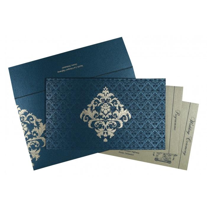 Blue Shimmery Damask Themed - Screen Printed Wedding Card : CS-8257G - IndianWeddingCards