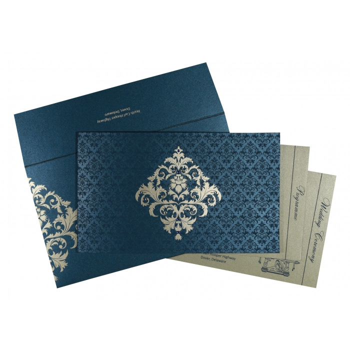 Blue Shimmery Damask Themed - Screen Printed Wedding Card : CW-8257G - IndianWeddingCards