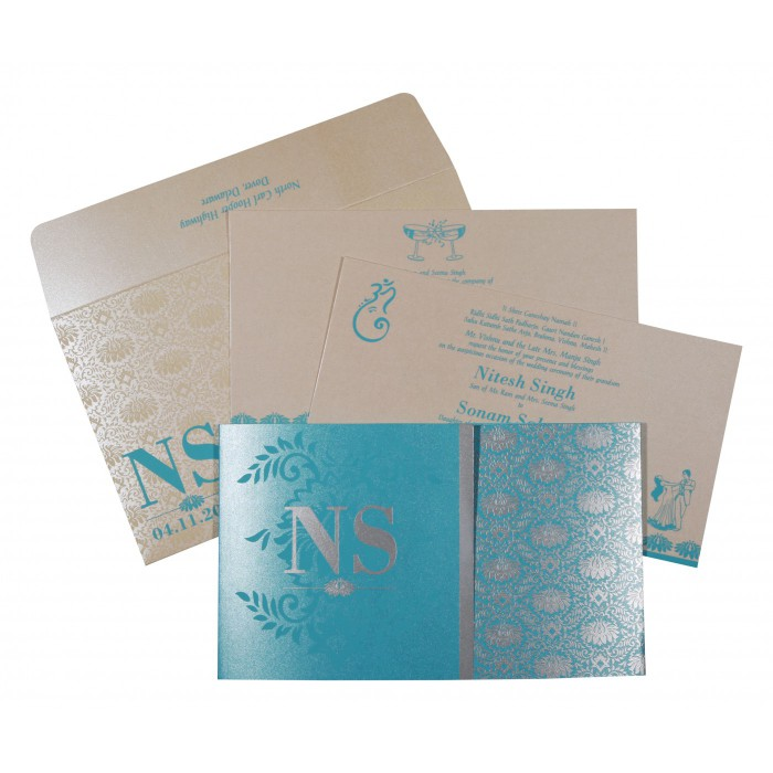 Blue Shimmery Damask Themed - Screen Printed Wedding Invitation : CW-8261E - IndianWeddingCards