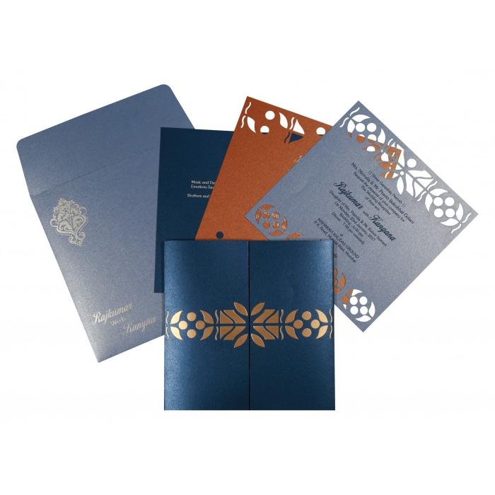 Blue Shimmery Embossed Wedding Invitation : CW-8260D - IndianWeddingCards