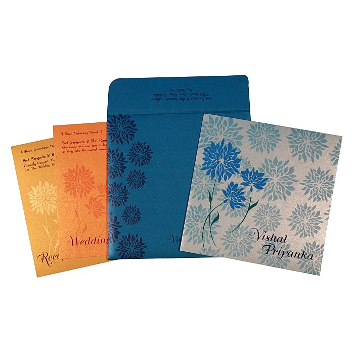 Blue Shimmery Floral Themed - Embossed Wedding Card : CW-1760 - IndianWeddingCards