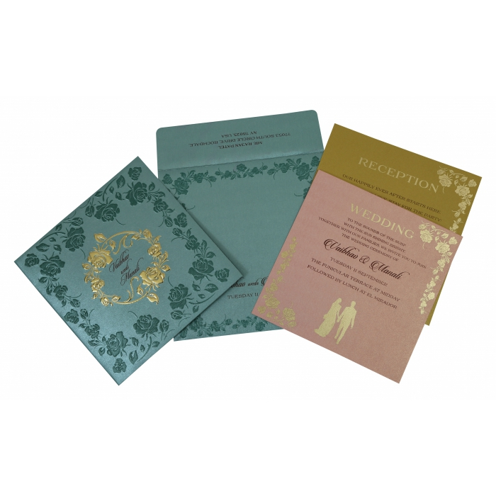 Blue Shimmery Floral Themed - Foil Stamped Wedding Invitation : CW-1794 - IndianWeddingCards