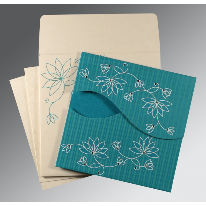 Blue Shimmery Floral Themed - Screen Printed Wedding Invitation : CC-8251G - IndianWeddingCards