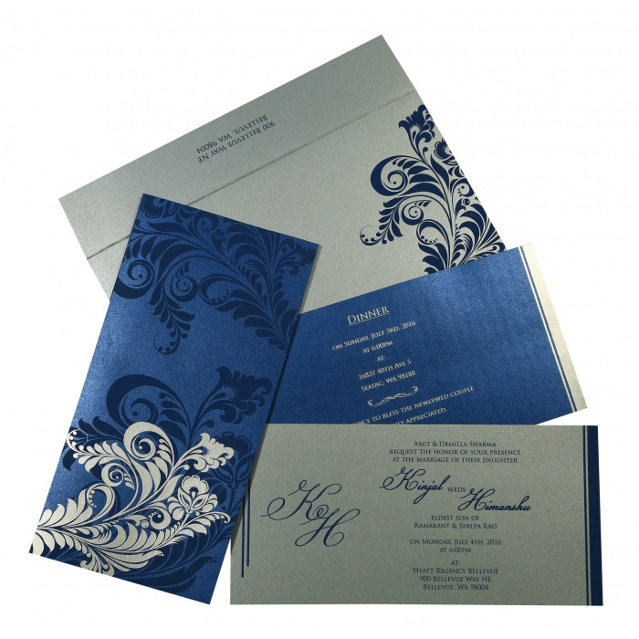 Blue Shimmery Floral Themed - Screen Printed Wedding Card : CS-8259E - IndianWeddingCards