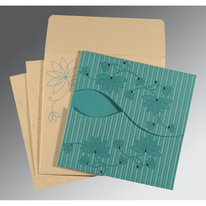 Blue Shimmery Floral Themed - Screen Printed Wedding Invitation : CW-8251A - IndianWeddingCards
