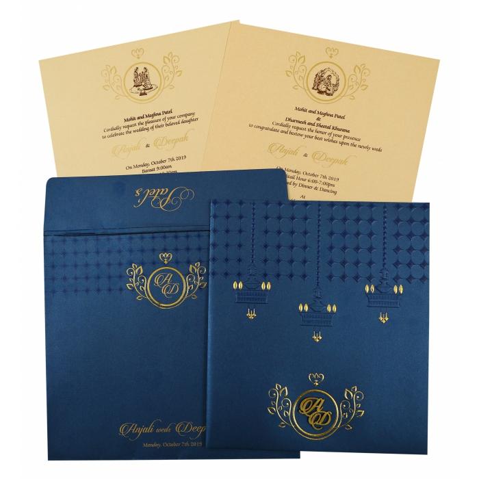 Blue Shimmery Foil Stamped Wedding Invitation : CD-1854 - IndianWeddingCards