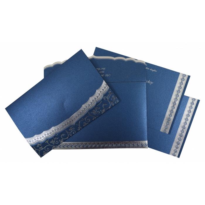 Blue Shimmery Foil Stamped Wedding Invitation : CW-806B - IndianWeddingCards