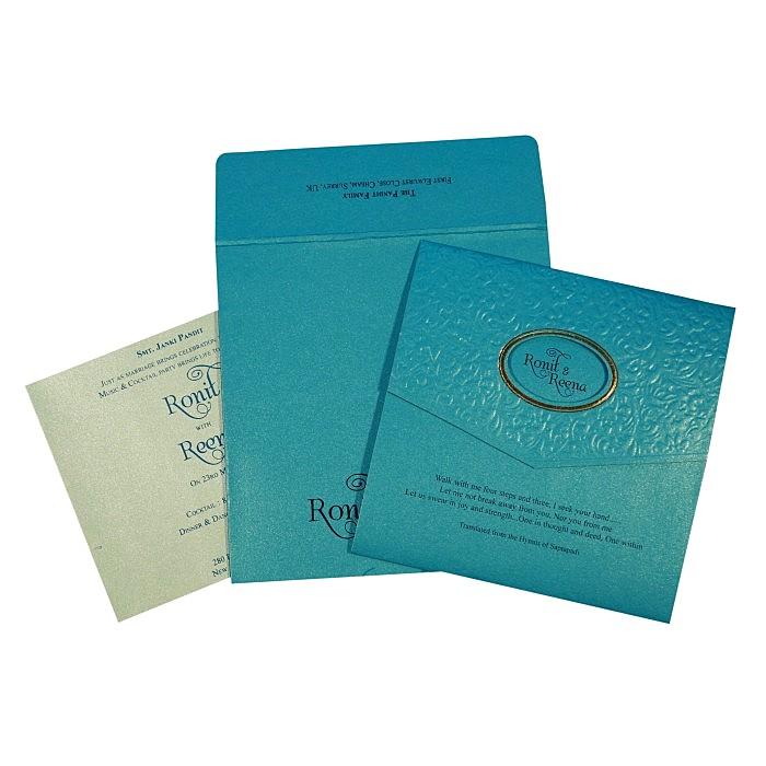 Blue Shimmery Foil Stamped Wedding Invitation : CC-1737 - IndianWeddingCards