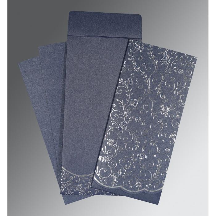 Blue Shimmery Foil Stamped Wedding Invitation : CW-1392 - IndianWeddingCards