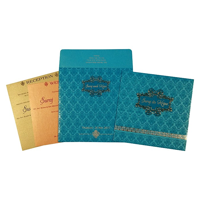 Blue Shimmery Paisley Themed - Foil Stamped Wedding Invitation : CC-1729 - IndianWeddingCards