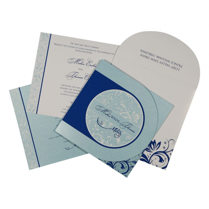 Blue Shimmery Paisley Themed - Screen Printed Wedding Card : CW-8264H - IndianWeddingCards