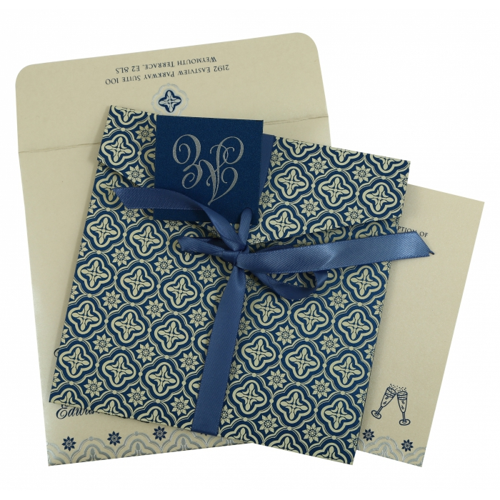 Blue Shimmery Screen Printed Wedding Invitation : CW-805D - IndianWeddingCards