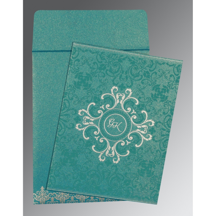 Blue Shimmery Screen Printed Wedding Card : CD-8244C - IndianWeddingCards