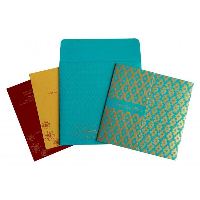 Blue Shimmery Screen Printed Wedding Invitation : CD-8263B - IndianWeddingCards
