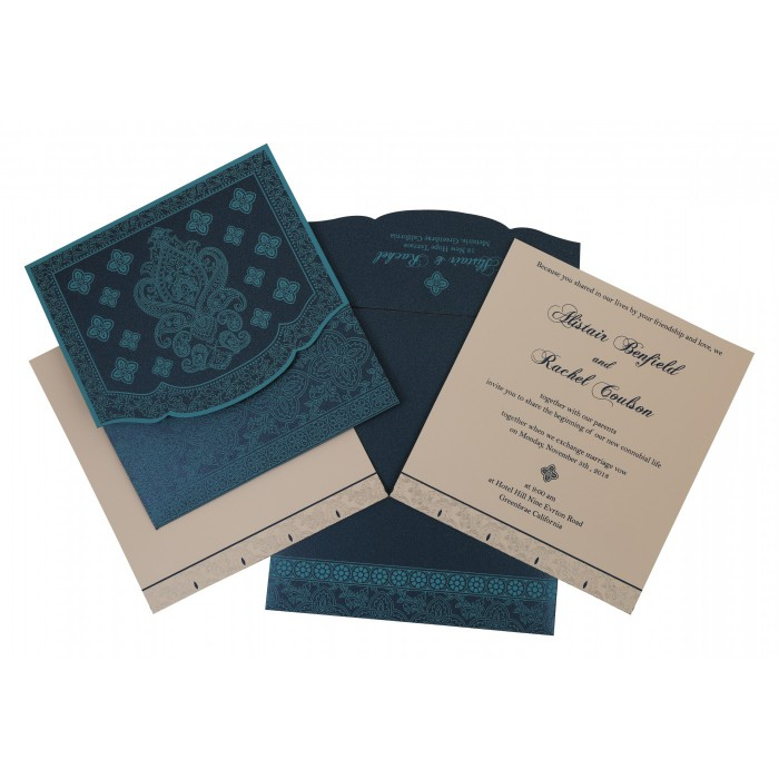 Blue Shimmery Screen Printed Wedding Invitation : CS-800C - IndianWeddingCards