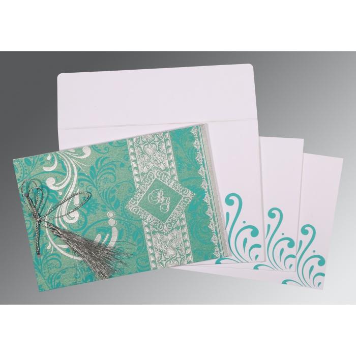 Blue Shimmery Screen Printed Wedding Card : CW-8223H - IndianWeddingCards