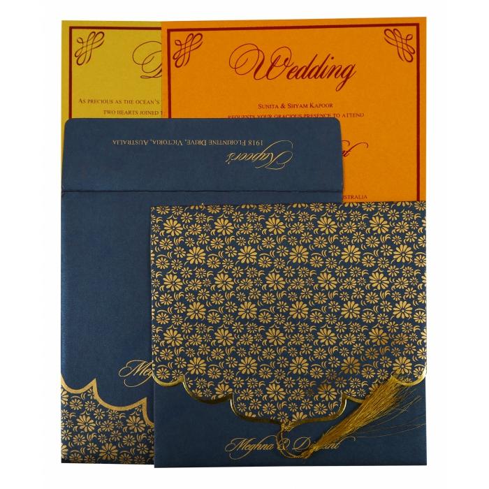 Blue Shimmery Unique Themed - Screen Printed Wedding Invitation : CW-1863 - IndianWeddingCards