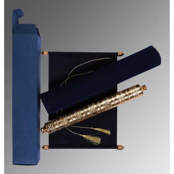 Blue Velvet Wedding Card : CSC-5006J - IndianWeddingCards