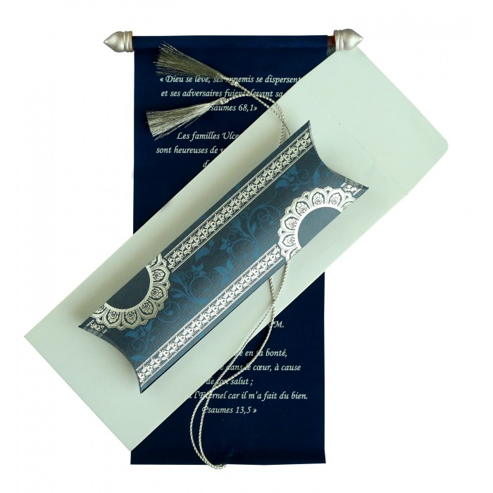 Blue Velvet Wedding Card : CSC-5010A - IndianWeddingCards