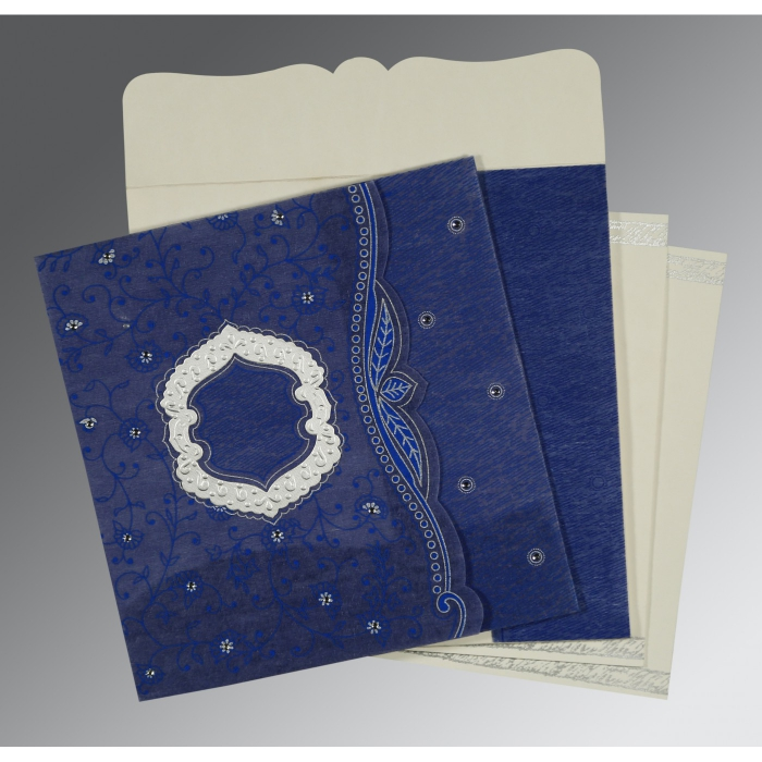 Blue Wooly Floral Themed - Embossed Wedding Card : CD-8209J - IndianWeddingCards